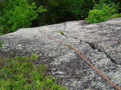 Rock Climbing Photo: the P1 lower crack of Sea of Green