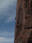 Rock Climbing Photo: Ken Anderson high on Wild Cat