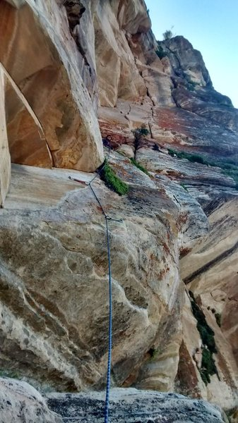 Rock Climbing Photo: Nick Dolhyj Pitch 9, you can see two bolts, that b...