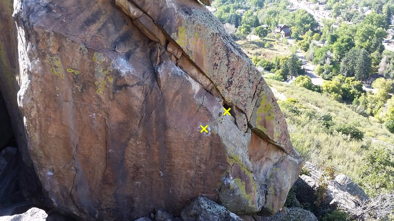 The traverse. The start holds are in yellow.