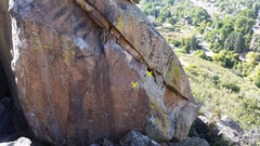 Rock Climbing Photo: The traverse. The start holds are in yellow.