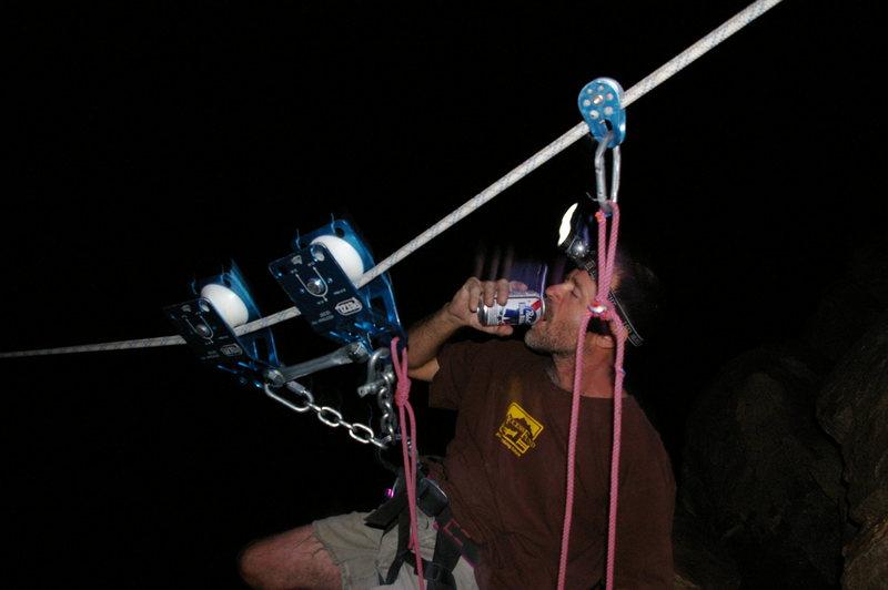 Jon DeBoer performing tyrolean shenanigans.
