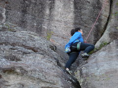 Rock Climbing Photo: On to the overhanging jam crack.