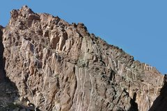 Rock Climbing Photo: Routes on Lower Canyon south side. Photo: George S...