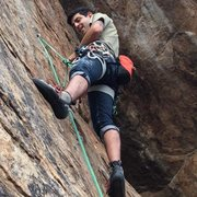 Rock Climbing Photo: hanging out on a bolt while leading