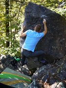 Rock Climbing Photo: The crux move, Satermo on the FA