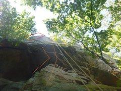 Rock Climbing Photo: See shared ground in orange...Zelda Row's arete is...