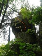 Rock Climbing Photo: Yellow: Dangle start. Orange: Alternative.