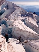 Rock Climbing Photo: Crossing a ladder on the upper Ingraham Glacier, S...