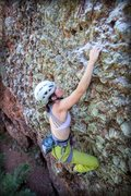 Rock Climbing Photo: Out of the steep section and searching for the hid...