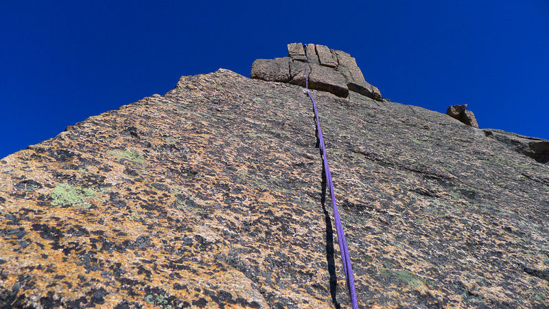 The 5.7 slabby crux, first 15 feet is the hardest and can't be protected.