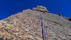 Rock Climbing Photo: The 5.7 slabby crux, first 15 feet is the hardest ...