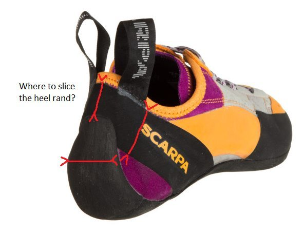 Rock Climbing Photo: If I cut the heel rand to reduce tension, where sh...