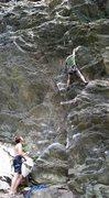 Rock Climbing Photo: masterpiece 10a rumney NH first burn