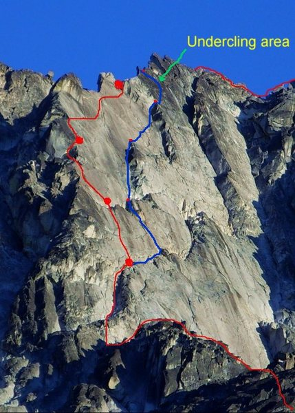 Overlay by JPlotz posted on Cascade Climbers.  Red is where many parties seem to head up early.  The blue line is the route described in Nelson's selected climbs.<br> <br> http://cascadeclimbers.com/forum/ubbthreads.php/topics/594125/TR_Dragontail_Peak_Backbone_Ri
