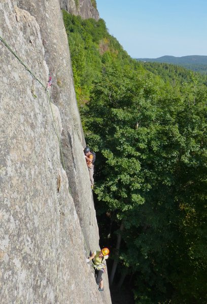 Nearing the top of The Sting. The climber in the back is on Gamesmanship.
