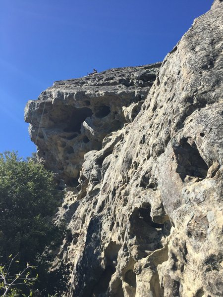 Rock Climbing Photo: Day hiker sitting at bolts for Center Overhang