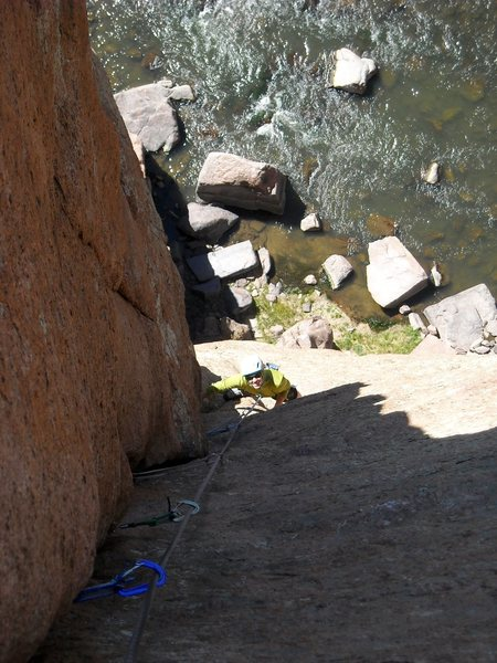Rock Climbing Photo: Tova on second half of pitch 2 after the underclin...