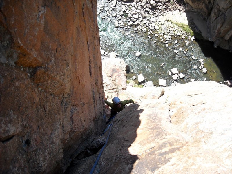 Tova on Pitch 3 (10c). 40 feet of technical stemming protected by micro cams.