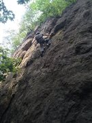 Rock Climbing Photo: Me taking a quick rest near the end of the route.