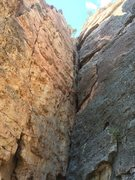 Rock Climbing Photo: Peking on the right face of the dihedral. Route me...