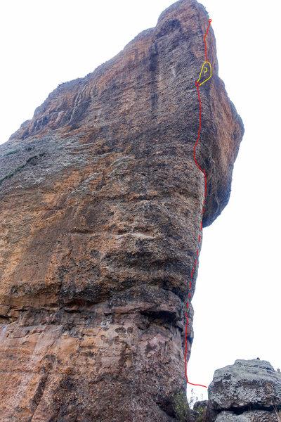 Rock Climbing Photo: Rough topo of the route.