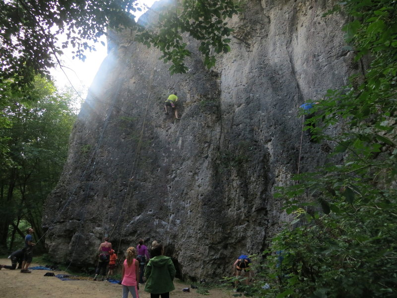 Rock Climbing Photo: The Treunitzer Wand. Scott (in yellow) is in Zeise...