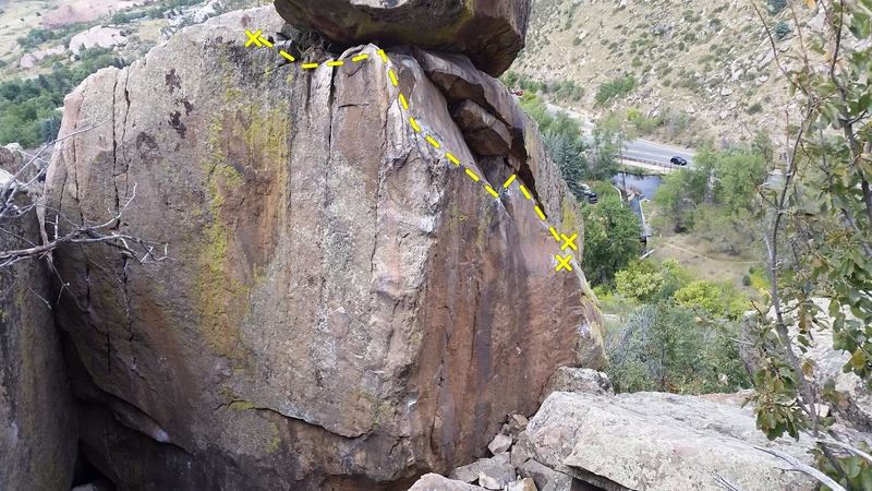 Another view, this photo showing the arete, and the line taken.