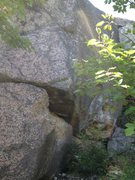 """Rock Climbing Photo: Large chunk of rock removed. 13- 1/2"""" drill h..."""