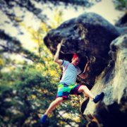 Castle Rock Proper - having fun on the free solo 5.6 to the top