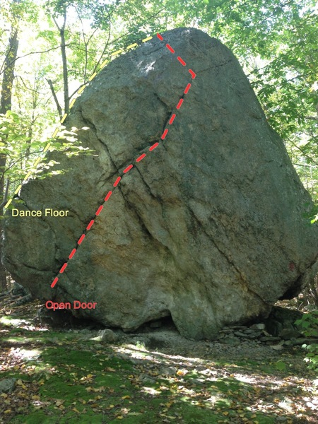 For scale, i'd say the boulder is about 20 feet tall.  Has one really fun easy side, and some other more challenging lines on the side pictured.  The side in facing the camera is angled back maybe 10 degrees.