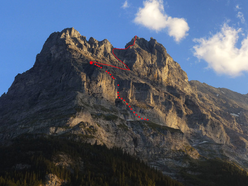 Rough topo of via Ferrata to Ostegg Hut (red dot) and initial pitches to the Saddle gaining the ridge.