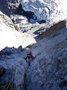 Rock Climbing Photo: Crux pitches above Eismeer Glacier.