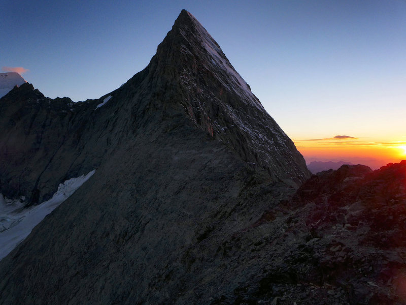 Rock Climbing Photo: Evening view of the Mittellegi from Mittellegi Hut...