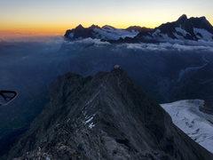 Rock Climbing Photo: Early light from Mittellegi Ridge. Mittellegi Hut ...