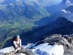 Rock Climbing Photo: Mittellegi Ridge. Going up fixed ropes above Grind...
