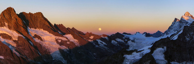 Evening view to the south from Mittellegi Hut. Full Moon rising.