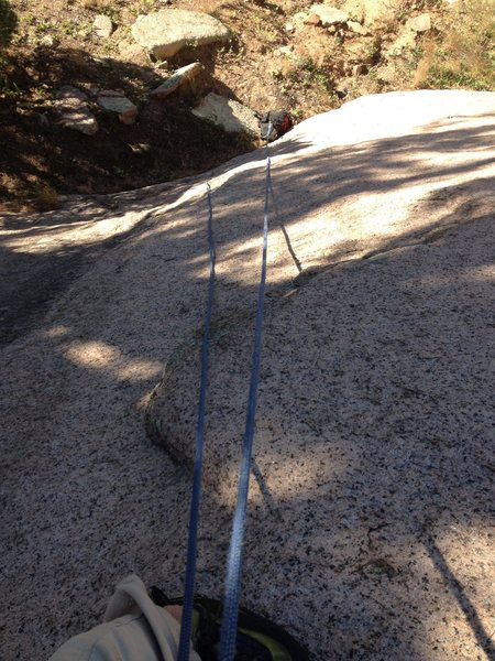 Rock Climbing Photo: Looking down at the crux slab.