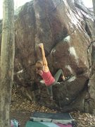 Rock Climbing Photo: Riley latching the mid route bucket