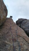 Rock Climbing Photo: Rod  at the chains. optional .75 and .5 in between...