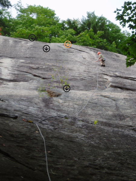 "Perfect Wave; Leader is at about Bolt#1 He did not stop at the ""normal"" 1st belay stance (lowest rap-station symbol)  The 3 Black Rap stations are the ""usual"" raps, the yellow-orange is the older, double-rope rap station."