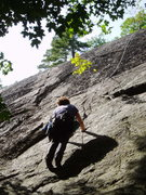 Rock Climbing Photo: Sheila Matz on P1 of Super Slab approaching the de...
