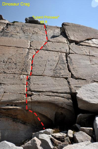 """Lizard Princess"" (5.7) on the Dinosaur Crag"