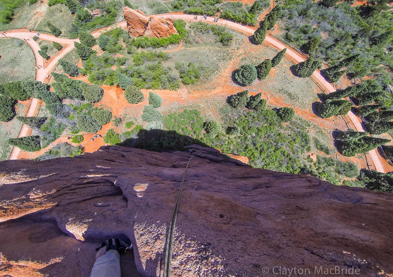 Looking down Montezuma's Tower, Garden of The Gods.<br> <br> Photo by Clayton MacBride, 2014.