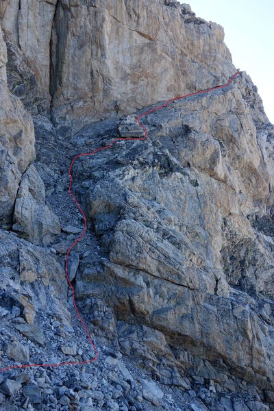 The Wall Street pitch, the first semi technical pitch on the Upper Exum Ridge route.