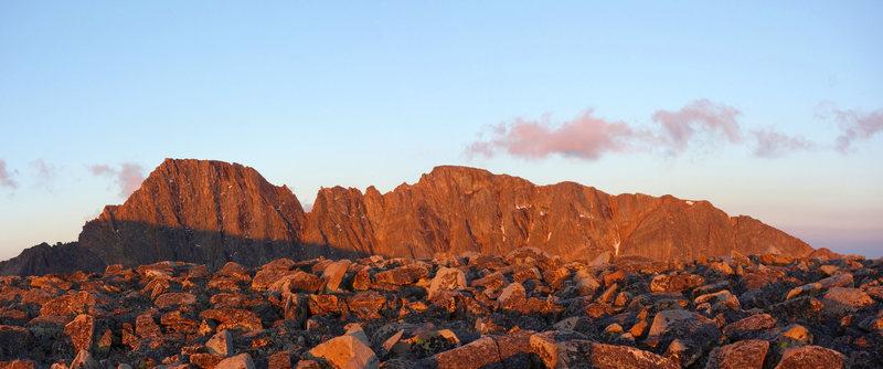 Morning light on Granite Peak (left), from the the Tempest saddle...