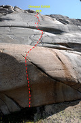 Rock Climbing Photo: Looking up Dinosaur Exhibit (5.11b friction) past ...