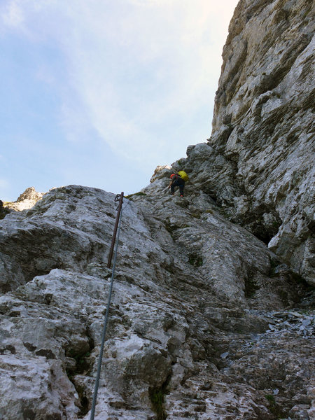 Nearing the end of via Ferrata inside the couloir.