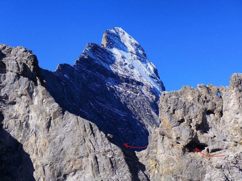 Cave leading through the ridge to easier ground. Eiger in the background.