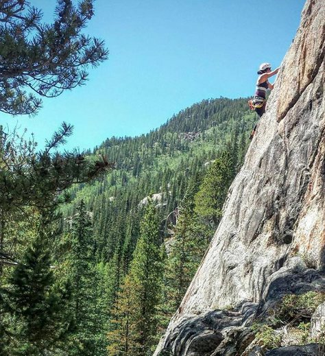 First lead climb at Powerline in Indy Pass (Tavern on the Green 5.6)